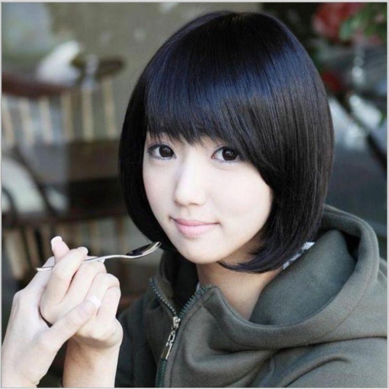 Tóc giả nữ Hàn Quốc loại 1 có da đầu + tặng Lưới trùm tóc - TG9975 ( MÀU ĐEN TỰ NHIÊN ) nhập khẩu
