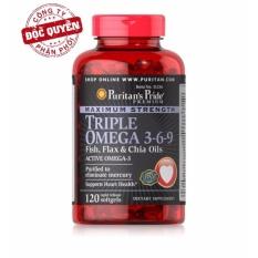Viên uống bổ sung omega 3 6 9 đẹp da tăng cường hệ miễn dịch Puritans Pride Premium Maximum Strength Triple Omega 3-6-9 120 viên HSD tháng 3/2019