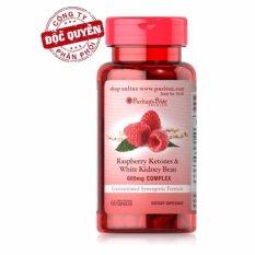 Viên uống hỗ trợ giảm cân Puritans Pride Raspberry Ketones & White Kidney Bean 600mg Complex 60 viên HSD tháng 9/2019