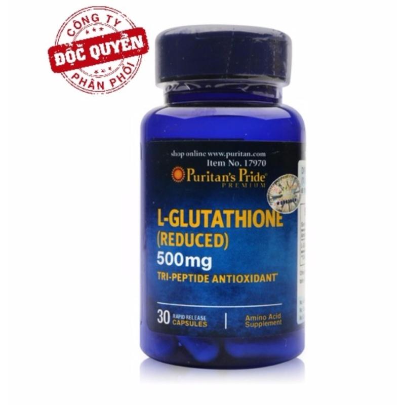 Viên uống trắng da, tăng cường hệ miễn dịch Puritans Pride Premium L-Glutathione 500mg 30 viên hsd 12/2019 cao cấp