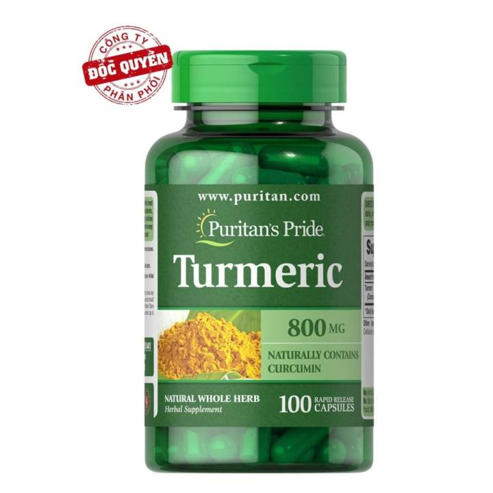 Viên uống tinh chất nghệ hỗ trợ hệ tiêu hóa, dạ dày, giảm viêm khớp, chống oxy hóa, chống viêm Puritan's Pride Turmeric 800mg 100 viên HSD tháng 5/2018