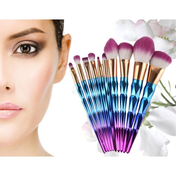 ... Shape Handle (Purple) - intl. Hình ảnh Womdee Unicorn Thread Professsional 10pcs Makeup Cosmetic Brushes Set With Colorful Rainbow Delicate Diamond