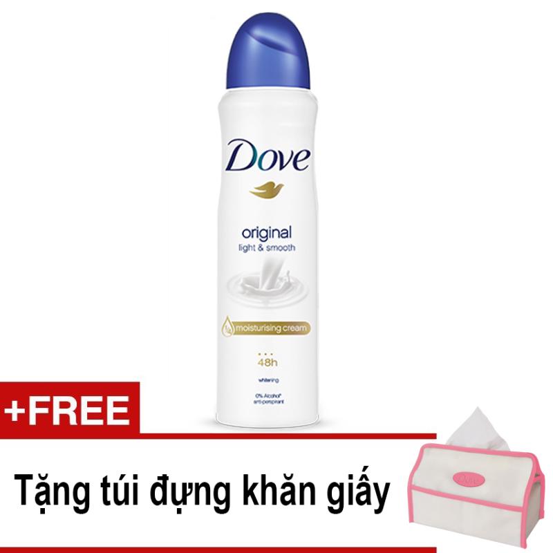 Xịt ngăn mùi Dove Light & Smooth 150ml + Tặng túi đựng khăn giấy