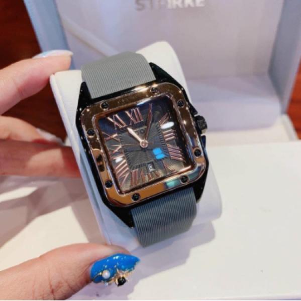 đồng hồ nữ guou mặt vuông dây silicon dẻo bền bán chạy