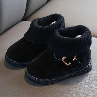 Bốt Liuyehumall Ngắn Giữ Ấm Cho Bé Gái, Giày Cổ Thấp Thường Ngày Cho Trẻ Sơ Sinh Và Mới Biết Đi, Màu Trơn Mùa Đông