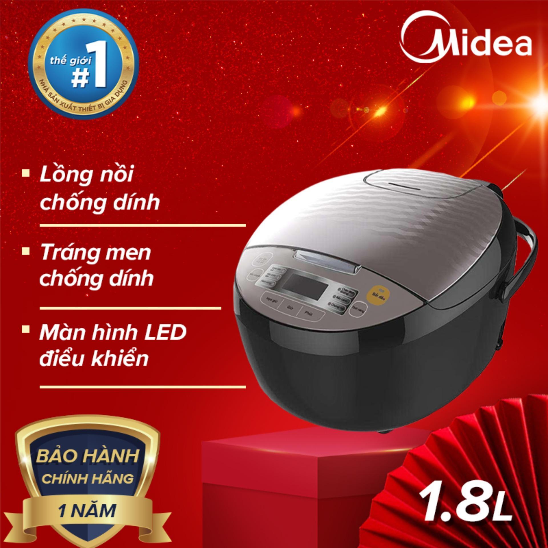 Bảng giá Midea nồi cơm điện tử 1.8L 860W oxi hóa cứng tráng men chống dính bảng điều khiển điện tử hẹn giờ nấu - Bảo hành 1 năm Midea MB-FS5018B Điện máy Pico