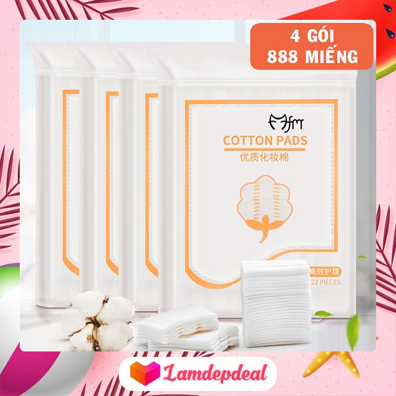 ♥ Lamdepdeal - Bộ 4 gói bông tẩy trang Magic Lady 222 miếng/gói - 100% cotton không xơ bông, thấm hút dung dịch dễ dàng, thân thiện với làn da - Phụ kiện trang điểm nhập khẩu