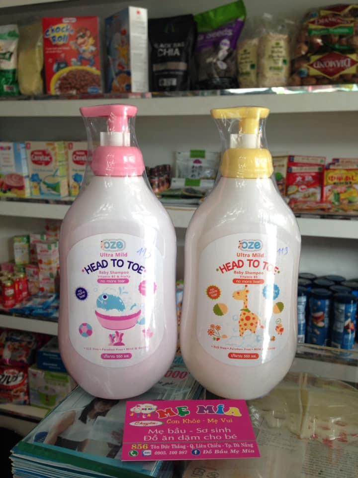 OZE ULTRA MILD HAED TO TOE BABY SHAMPOO – VITAMIN B5 (Sữa Tắm Gội Toàn Thân Cho Bé OZE) 550ml