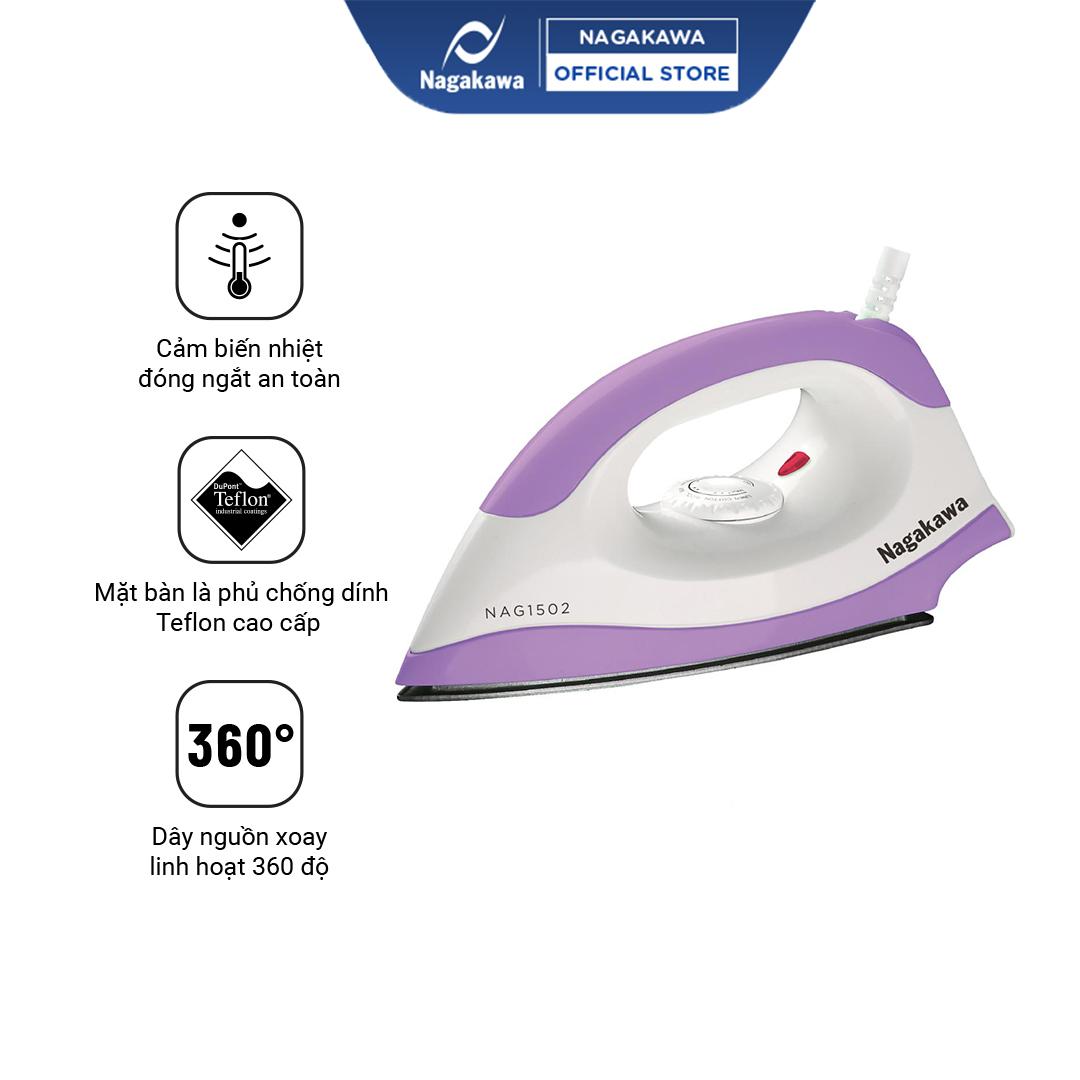 Bàn Ủi  Nagakawa Màu Tím/ Xanh - Công suất 1200W - Mặt đế Teflon chống dính - Hệ thống cảm biến ngắt điện ăn toàn - Bảo hành 12 tháng - Hàng Chính Hãng