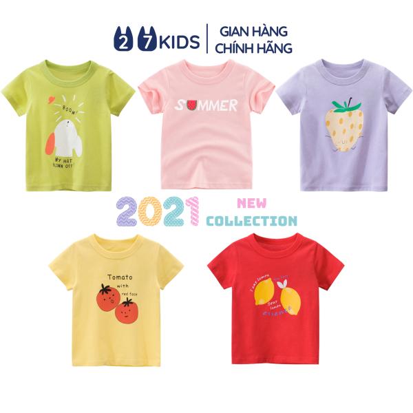 Giá bán Áo bé gái 27Home áo thun cộc tay cho bé in hình trái cây chất cotton S301