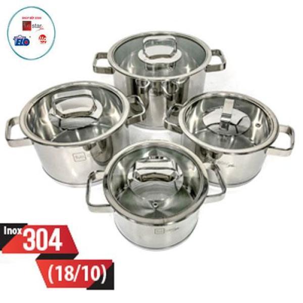 Bộ nồi cao cấp 3 đáy bếp từ inox 304 Fivestar Standard 4 món nắp kính.Hàng xuất khẩu.tặng 2 vá canh
