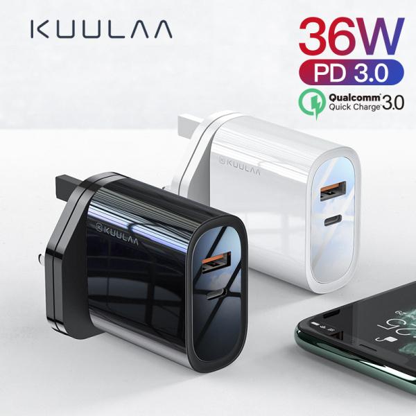 KUULAA Sạc nhanh 36W 4.0 3.0 PD 3.0 Bộ sạc USB Bộ sạc nhanh EU Plug Adaptor Bộ sạc siêu tốc 36W Quick Charge 4.0 3.0 PD 3.0 USB Charger Fast Charger EU Plug Adapter Supercharger cho iPhone X XR XS 8 Xiaomi Mi 9