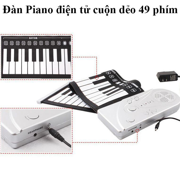 Đàn Piano Cuộn Dẻo, Đàn Piano Điện Tử, Dan Piano  BAn Phim Mini ,Đàn Kỹ Thuật Số Điện Gọn Nhẹ Dễ Di chuyển Với 49 Phím Chức Năng, Tặng phiếu bảo hành 1 năm Toàn quốc