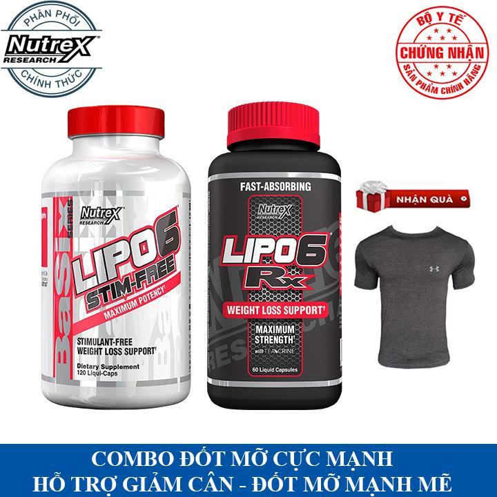 [TẶNG ÁO GYM] Combo giảm cân đốt mỡ cực mạnh Lipo 6 RX và Lipo 6 Stim Free của Nutrex hỗ trợ giảm cân, giảm mỡ bụng mạnh mẽ, đốt mỡ liên tục suốt ngày, tăng tỉnh táo tập trung, tăng sức bền sức mạnh cho người tập thể thao - Phân ph