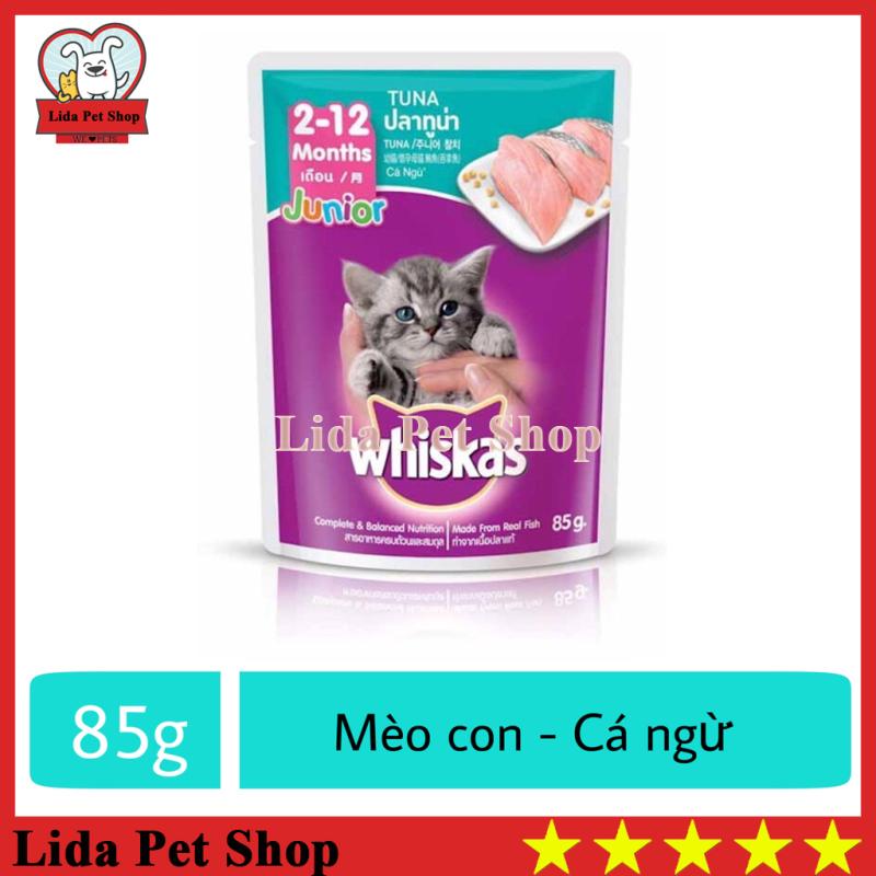 [Lấy mã giảm thêm 30%]HN- Thức ăn ướt pate / xốt Whiskas hương vị Cá Ngừ dành cho mèo con - Gói 85g - Lida Pet Shop