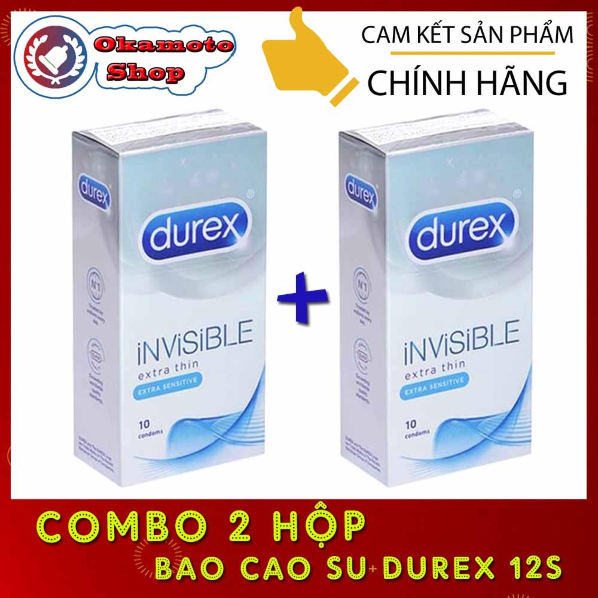 [Combo 2 hộp] Bao cao su Durex Invisible Extra Thin cực siêu mỏng (Hộp 10 chiếc)