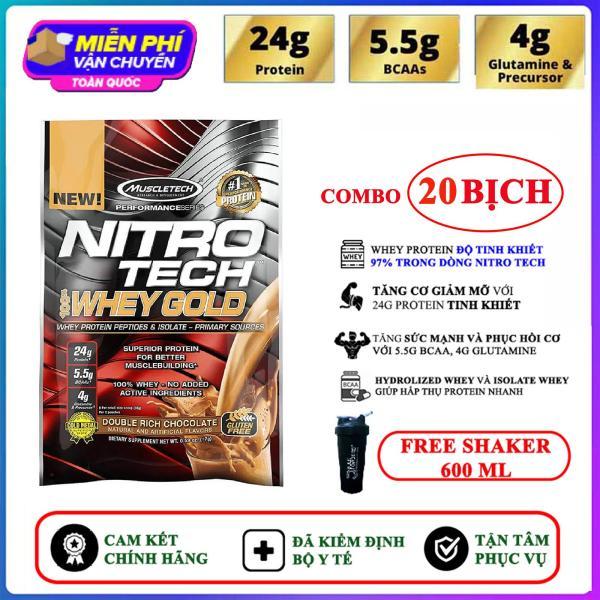 [TẶNG BÌNH LẮC] Combo 20 Gói Sample Sữa tăng cơ giảm mỡ Nitro Whey Gold của Muscle Tech hương Chocolate (33.3g/gói) hỗ trợ tăng sức cơ, tăng sức bền sức mạnh, đốt mỡ giảm cân, giảm mỡ bụng mạnh mẽ cho người tập gym và chơi thể thao giá