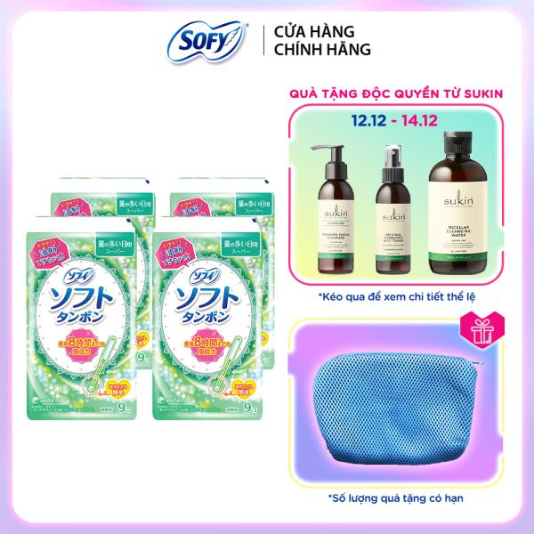 Bộ 4 Băng vệ sinh siêu thấm Sofy Soft Tampon Super gói 9 ống (Hàng nhập khẩu)