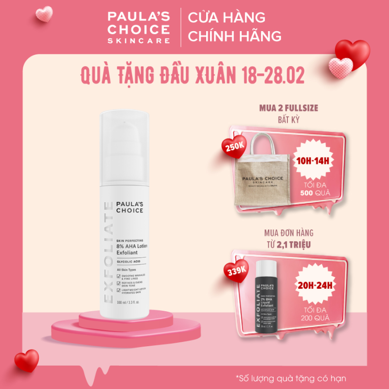Lotion loại bỏ tế bào chết làm sáng da  Paula's Choice Skin Perfecting 8% AHA Lotion 100ml 2060