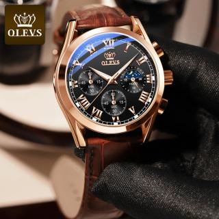 Đồng hồ nam cao cấp hàng hiệu dây da OLEVS cao chống nước chính hãng Kính sapphire G Shock da nam học sinh- Multifunctional Chronograph Quartz thumbnail