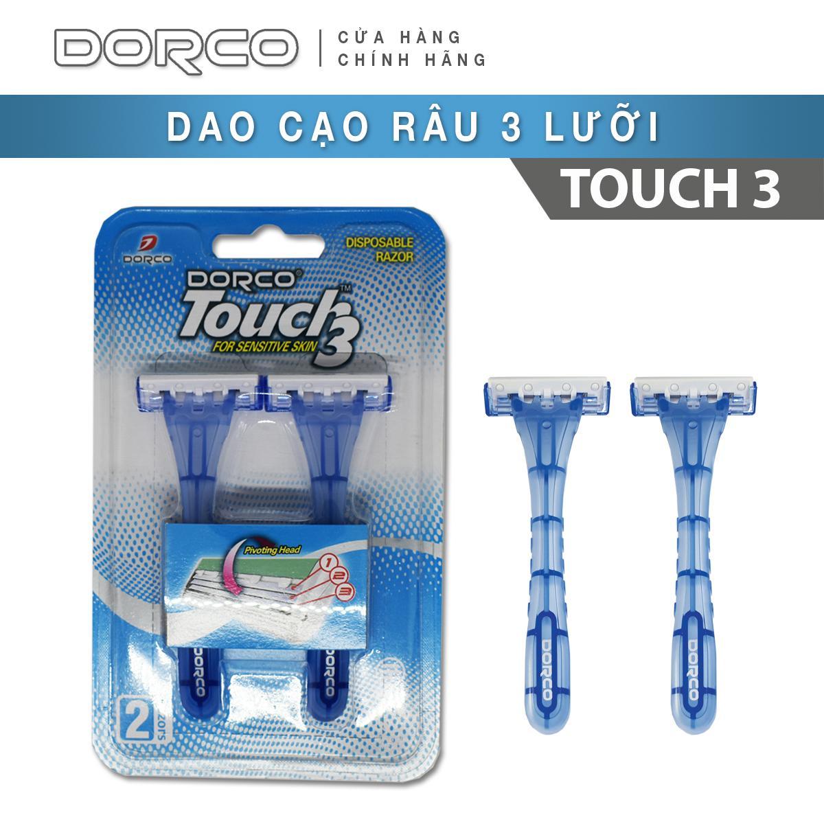 DAO CẠO 3 LƯỠI DORCO TOUCH 3 (Gói 02 dao cạo)