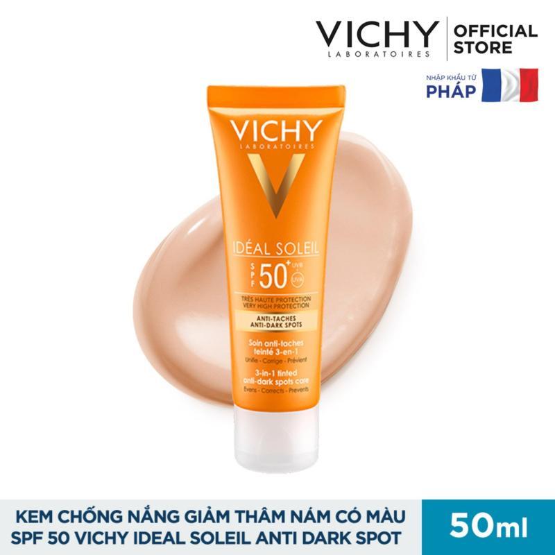 Kem chống nắng ngăn sạm da, giảm thâm nám Vichy Ideal Soleil Anti Darkspot SPF 50 Chống Tia UVA + UVB 50ml nhập khẩu