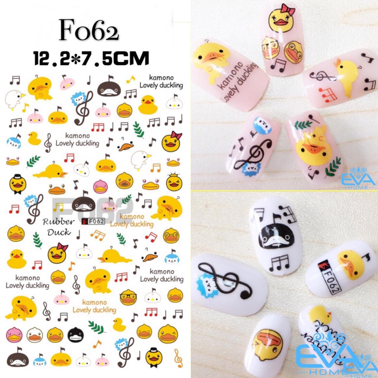 Miếng Dán Móng Tay 3D Nail Sticker Hoạt Hình Rubber Duck F062 tốt nhất