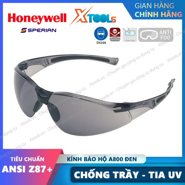 Giá bán Kính bảo hộ lao động Honeywell A800 Đen - Mắt kính chính hãng chống bụi, chống trầy xước, chống tia cực tím [XTOOLs][XSAFE]