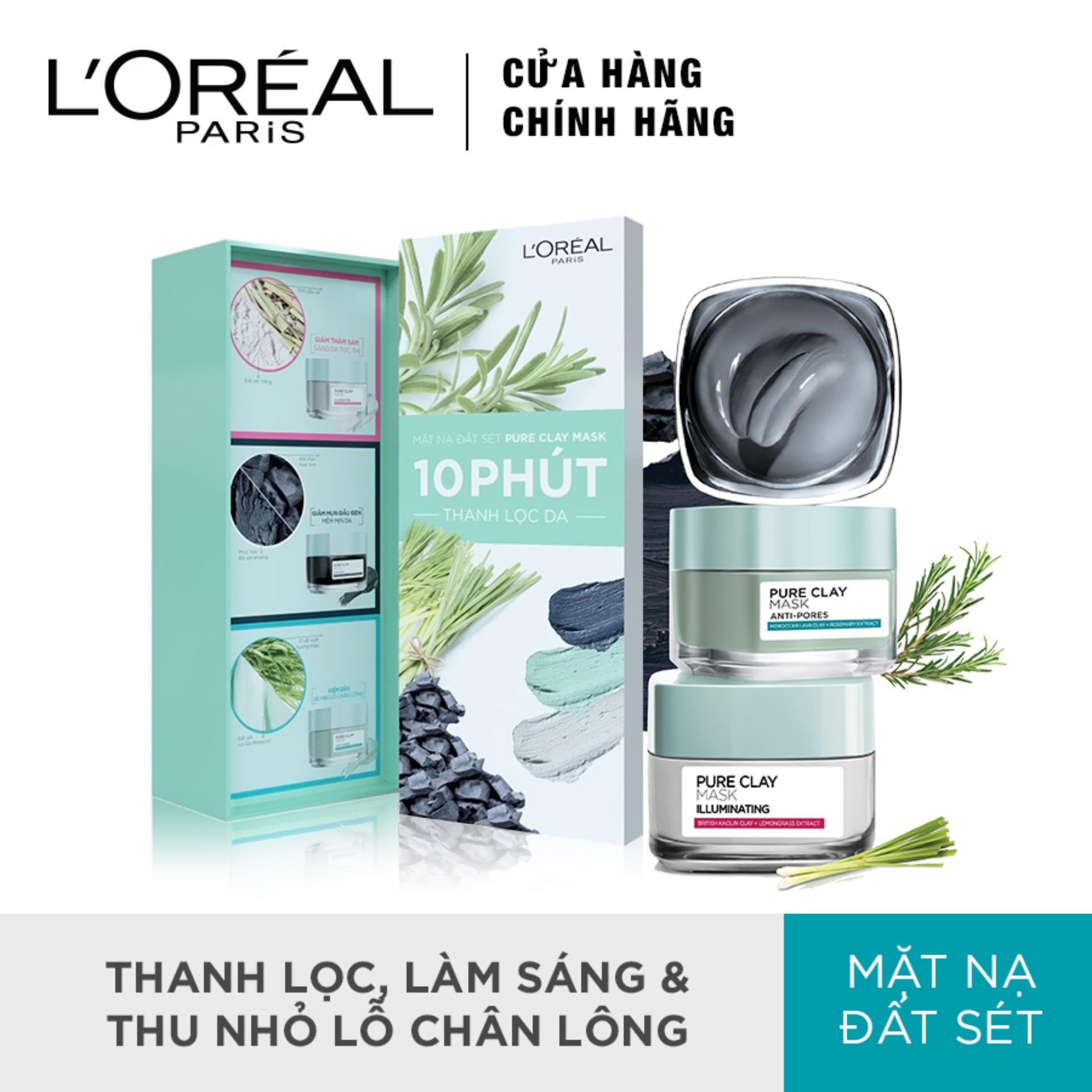 Bộ 3 mặt nạ đất sét thanh lọc - trắng mịn - thu nhỏ lỗ chân lông da LOreal Paris Pure Clay Mask nhập khẩu