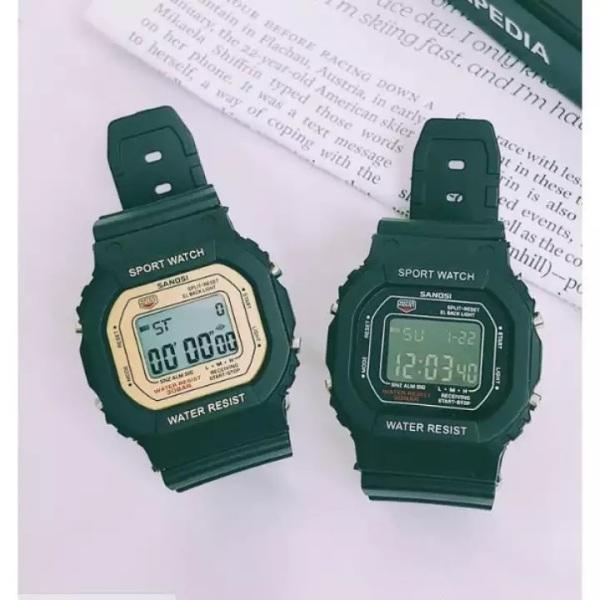 Nơi bán Đồng hồ nữ điện tử SANDA mặt vuông dây cao su cao cấp chống nước cực tốt