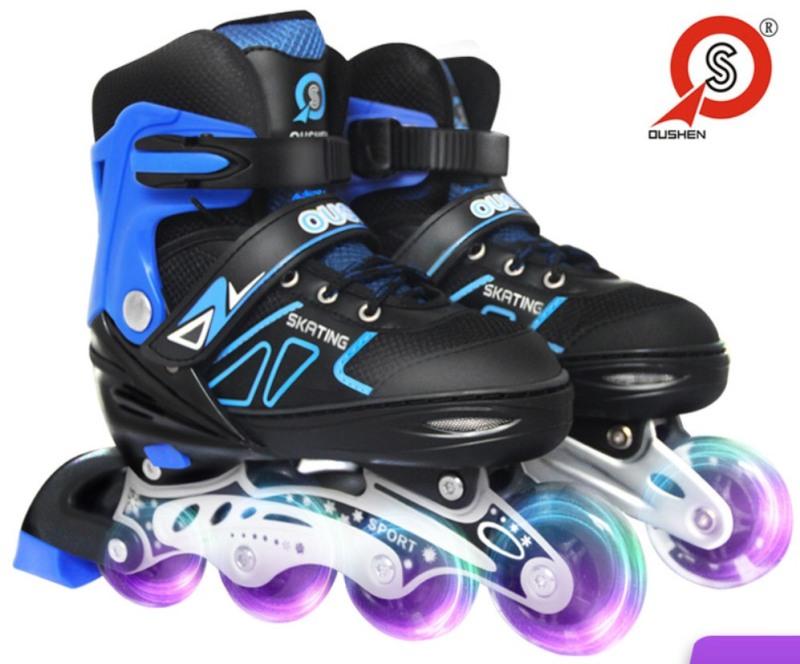 Phân phối Combo giày patin + Kèm bảo vệ, OUSHEN + bảo vệ patin + mũ ( bảo hành 3 tháng )