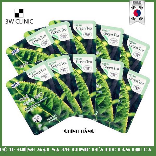 Bộ 10 Miếng Mặt Nạ Trà Xanh Dưỡng Da 3w Clinic Fresh Greentea Mask Sheet 100% Cotton (23ml/Miếng)