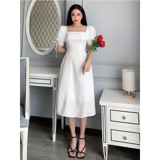RECHIC Đầm Emma màu trắng cổ vuông tay phồng trẻ trung xinh xắn thumbnail
