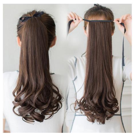 Bộ tóc giả buộc đuôi tóc dài 48cm chất lượng cao (nâu vàng) cao cấp