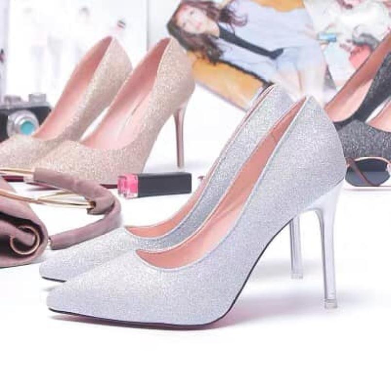 Giày cao gót nữ phủ kim sa lấp lánh gót nhọn kèm clip giá rẻ