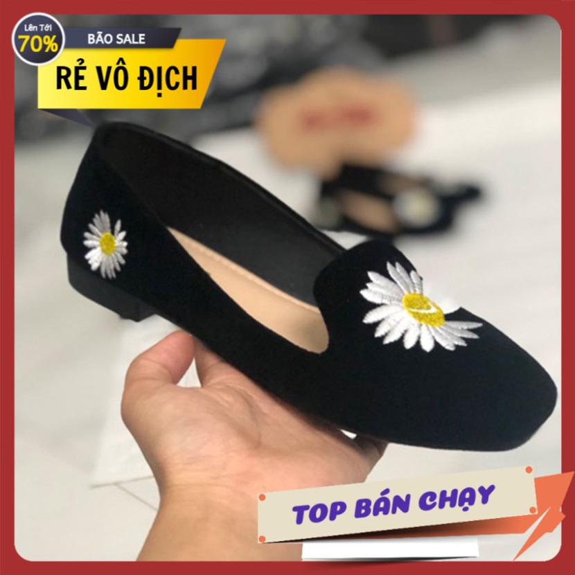 Giày búp bê nữ thêu hình hoa cúc sang trọng giá rẻ