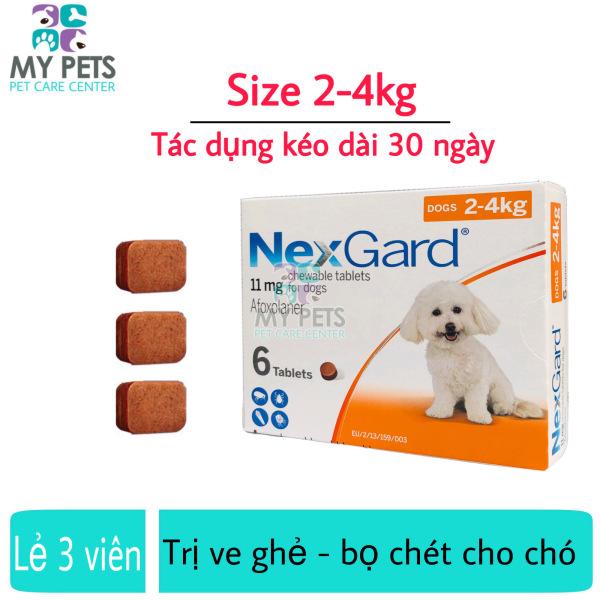 NEXGARD viên nhai ve ghẻ, bọ chét cho chó - Lẻ 3 viên (size 2-4kg. no box)
