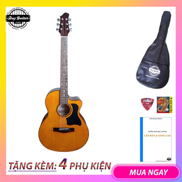 Đàn guitar acoustic DVE70 đàn guitar đệm hát dành cho bạn mới tập Âm thanh vang sáng Cần đàn thẳng Action thấp bấm êm tay Duy Guitar Store