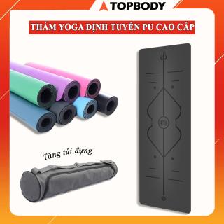 Thảm Tập Yoga Định Tuyến Da PU Cao Cấp, Thảm tập yoga chống trượt, thấm hút mồ hôi + Tặng kèm túi đựng yoga - TOPBODY-T3-THAMT03 thumbnail