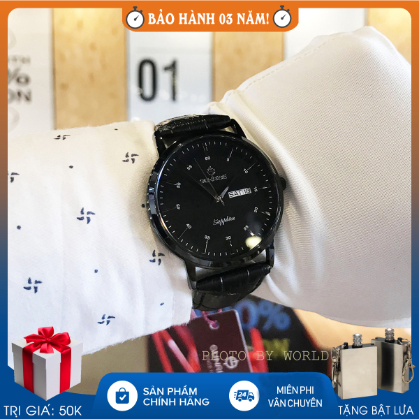 Đồng hồ pin, đồng hồ nam Sunrise DM1216SWA, full hộp, thẻ bảo hành hãng, kính sapphire chống xước, chống nước, dây da