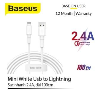 [FREESHIP]Cáp dây sạc nhanh và truyền dữ liệu Baseus Mini White Cable USB For Lightning (2.4A) Micro USB (2.4A) Type C (3A) chiều dài 1m truyền dữ liệu tốc độ cao 480Mbps 2.4A dây siêu bền thumbnail
