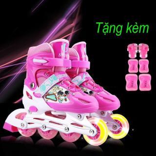 Giày trượt patin trẻ em bánh xe phát sáng + Tặng bộ bảo hộ cho bé, Giaỳ Patin Chống Hôi Chân, Thấm Hút Mồ Hôi Cực Tốt,Bánh Xe Chịu Lực Trơn Tru thumbnail