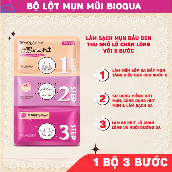 (1 BỘ) Miếng lột mụn BIOAQUA mũi 3 bước Bioqua - Đẩy mụn - Lột mụn - se nhỏ chân lông giúp da thông thoáng sạch sẽ và thẩm mỹ