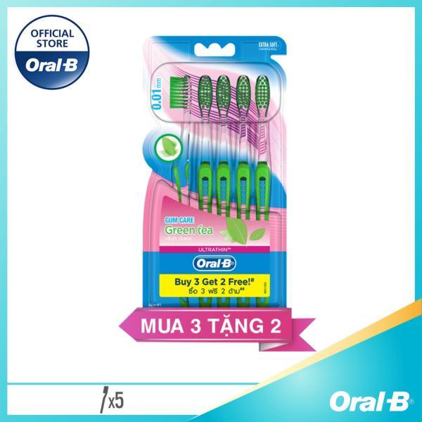 Vỉ 5 Bàn Chải Đánh Răng Oral-B Ultrathin Greentea Toothbrush