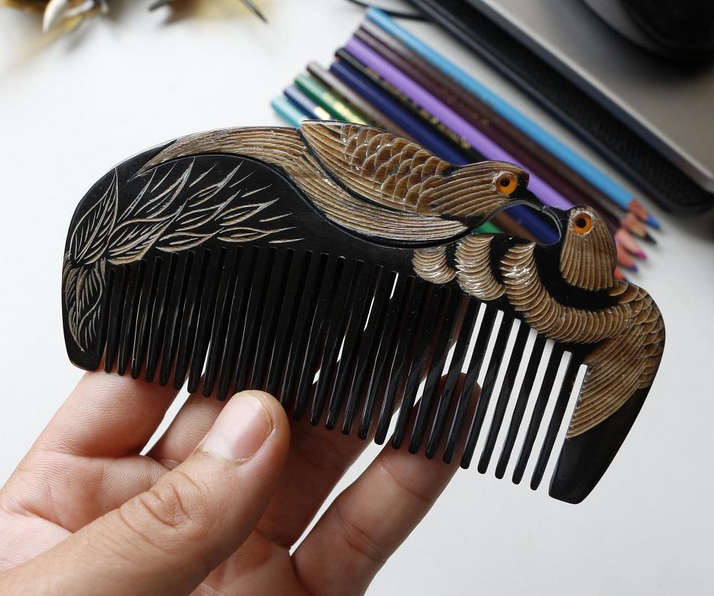 [Siêu mượt tóc] Lược chải tóc sừng trâu tốt cho sức khỏe L02 nhập khẩu