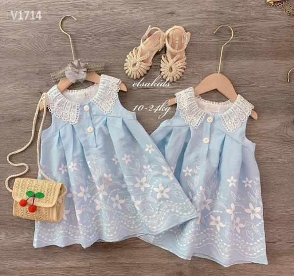 Giá bán Váy bé gái sóng xanh bánh bèo cực xinh - VBG-sóng-xanh