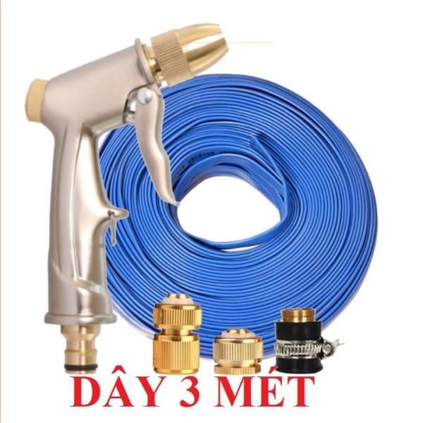 Bộ dây vòi xịt nước rửa xe, tưới cây ✔ loại 3m, 5m 206701-1 đầu đồng, cút đồng,nối đồng+ tặng túi đựng bút TL