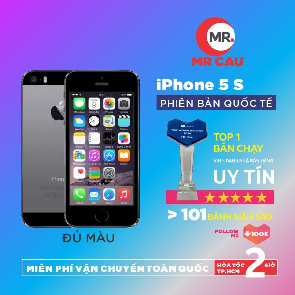 [Nhập ELMAY21 giảm 10% tối đa 200k đơn từ 99k]Điện thoại giá rẻ iPhone 5s - 16GB - quốc tế youtube tiktok facbook  Game online mượt nghe gọi to vân tay nhạy