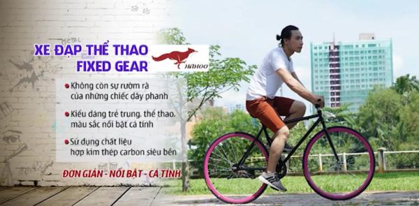 Phân phối Xe đạp thể thao FIXED GEAR [Hahoo]  Hai màu trắng đen tuỳ chọn - Xe đạp sành điệu dành cho người sành điệu