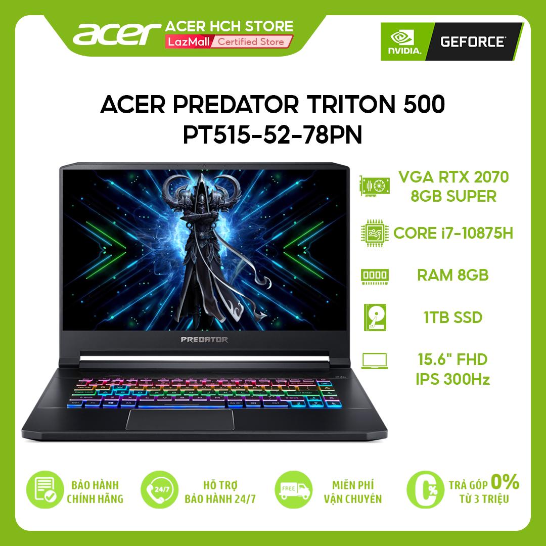 "[VOUCHER 10% từ 27-29.03] Laptop Gaming Acer Predator Triton 500 PT515-52-78PN i7-10875H   32GB   1TB   VGA RTX 2070 8GB Super   15.6"" FHD 300Hz   Win 10"
